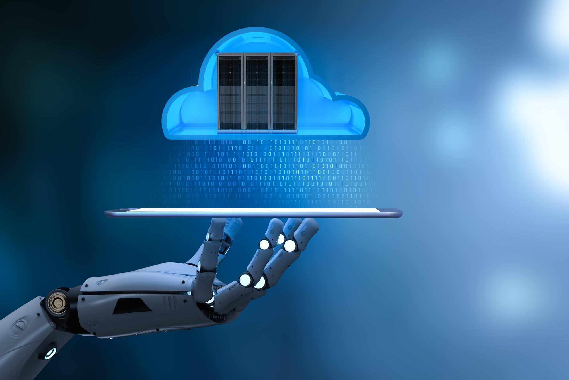 mão de robo segurando um tablet na horizontal com um diagrama em nuvem de um arquivo digital